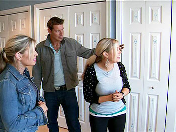Ty Pennington used a stencil to liven up Amy's boring closet doors.