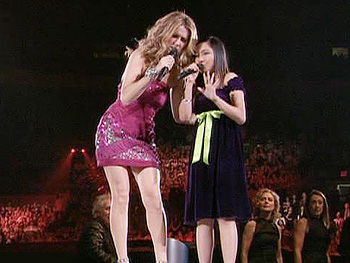 Charice sings with Celine at Madison Square Garden.