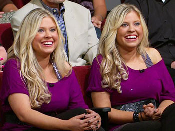 Identical twins Amy and Megan