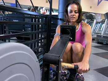 Ali Vincent uses the rowing machine.