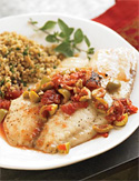Roasted Tilapia with Fire-Roasted Tomatoes and Olives