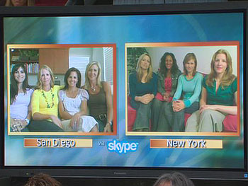 Women Skype in from San Diego and New York City.
