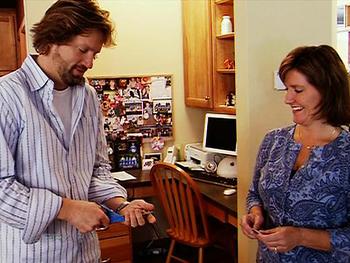 Sue Heinz shows Vicky Sandberg how to save money.