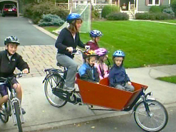 Kristi and her family ride bikes instead of driving.