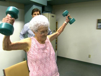 At 103, Marge Jetton shows Dr. Oz and Dan Buettner her exercise routine.