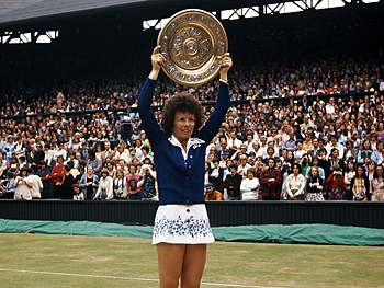 Billie Jean King after winning Wimbledon
