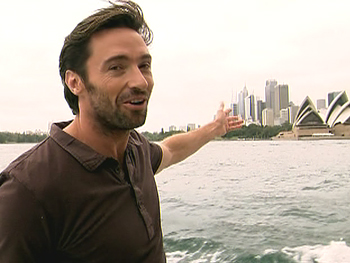 Hugh Jackman shows Oprah Show viewers around Sydney.