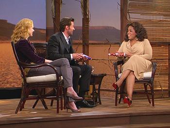 Hugh Jackman has Australian cookies for Oprah's audience.