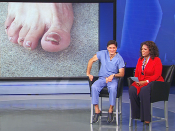 Geri talks about her foot fungus.