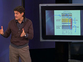 Dr. Oz teaches the teens how to read a food label.