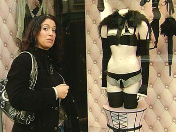 Stephanie at a Parisian lingerie store.