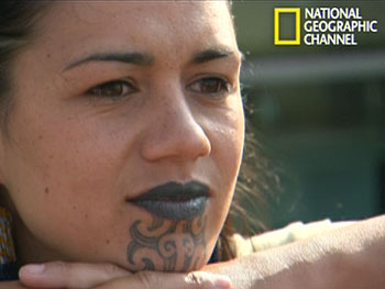 A Maori woman with tattooed lips