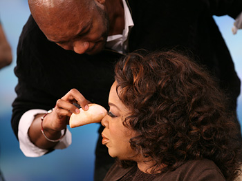 Oprah and her makeup artist