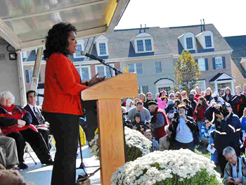 Oprah speaks at the opening of Mattie J.T. Stepanek Park in Rockville, Maryland.
