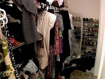 A messy clothes closet