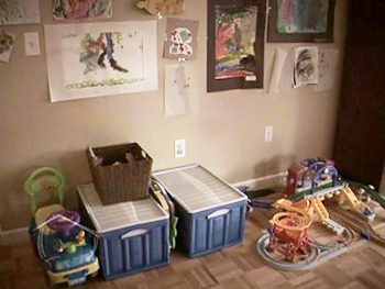 Babette's cluttered toy space