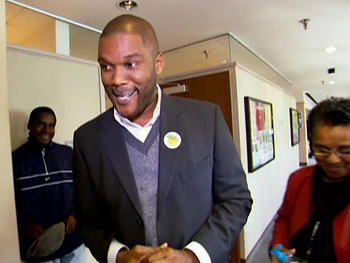 Tyler Perry votes in his first election.