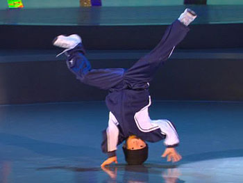 Jalen showcases his break dancing moves.