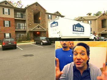 Thom Filicia hiding in a Lowe's truck