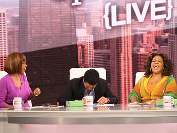 Gayle, Mark and Oprah share a big laugh