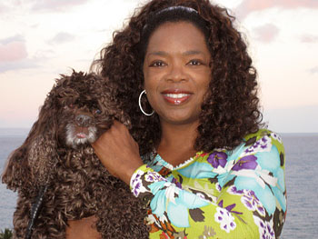 Oprah with her dog, Solomon
