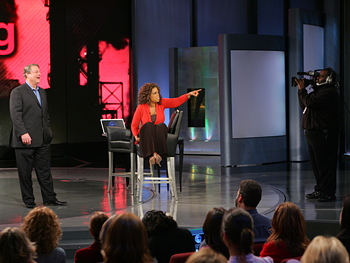 Oprah and former Vice President Al Gore take a question from the audience.