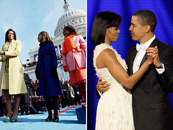 The Obamas at the inauguration and the Inaugural Ball