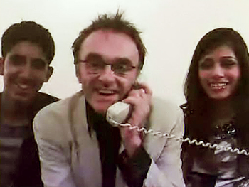 Dev Patel, Danny Boyle and Frieda Pinto