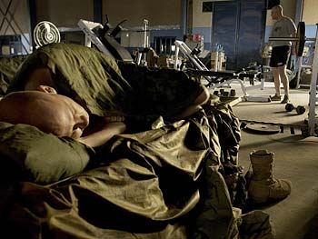 A soldier sleeps.