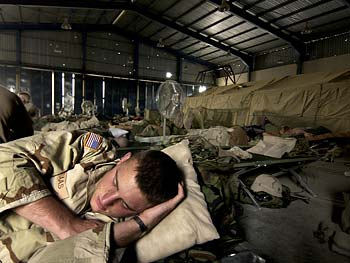 Soldiers catch up on their sleep.