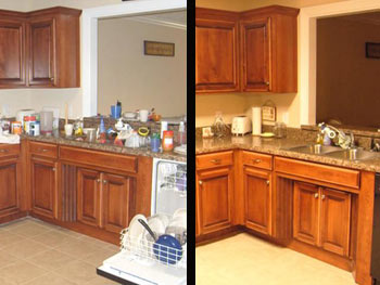 Trisha cleaned up her kitchen.