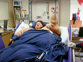 Renee exercises in the hospital.
