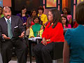Steve Harvey and Oprah take questions from the audience.