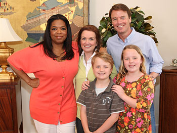 Oprah poses with Elizabeth, John, Jack and Emma Claire Edwards.