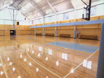 The Edwardses' indoor basketball court