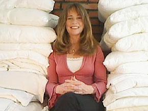 Mary Marzano donates sheets to homeless shelters.