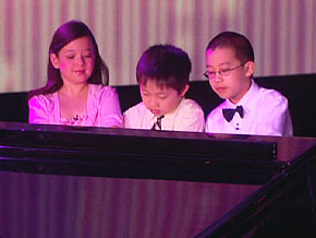 Lang Lang performs with Charlie Liu, Anna Larsen and Derek Wang.