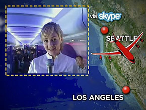 Mandy is Skyping from a Virgin America flight.