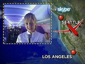 Mandy is Skyping from a Virgin America flight.