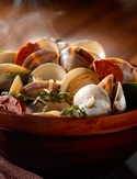 Art Smith's Steamed Clams with Chorizo and Fingerling Potatoes