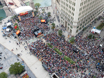 Crowds gather for Oprah's Season 24 Kickoff Party.