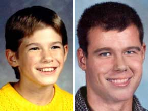 Jacob Wetterling at 11, and an age progression picture of what he would look like at 31
