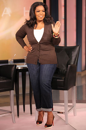 Oprah in her new favorite jeans.