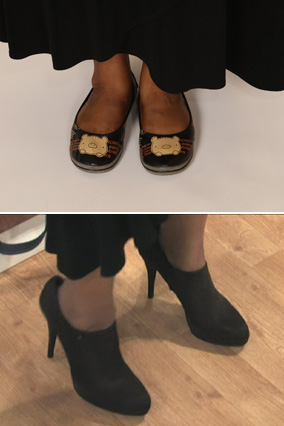 Gwen's shoes, before and after
