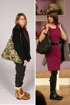 Lynn, before and after her shoe and handbag intervention