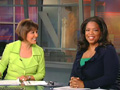 Oprah co-anchors the news.