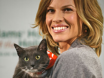 Hilary Swank at an animal shelter