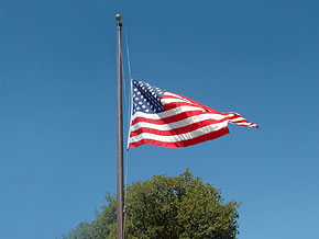 An American flag at half-mast