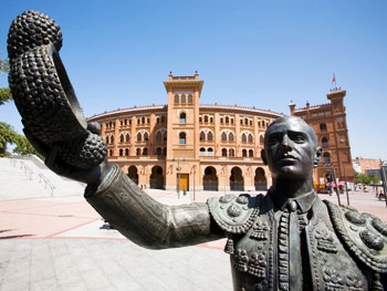 A statue of a bull fighter outside Las Ventas bullring