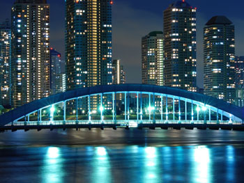 Tokyo's scenic Eitai bridge at night